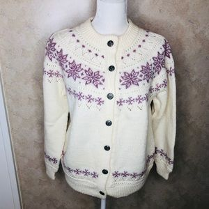Dale of Norway Wool Sweater ivory lavender small